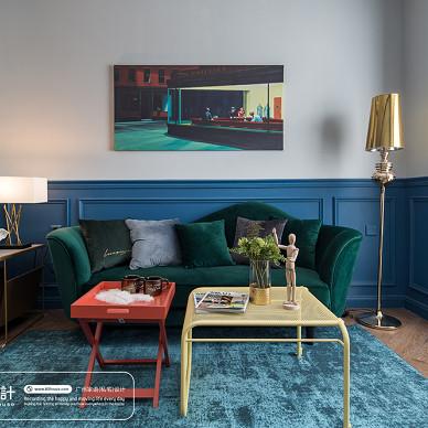 曼陀温莎混搭白蓝分明的客厅