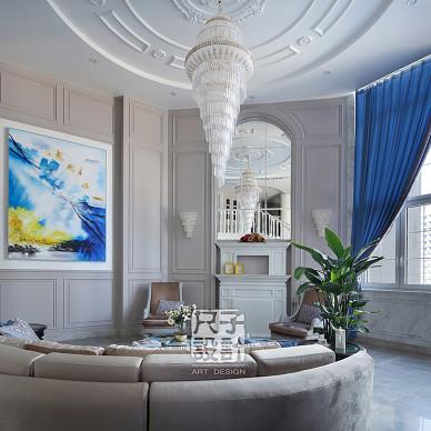 欧式【尺子室内设计】蓝色郡城|道不尽的优雅与品质客厅设计