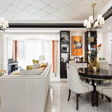 混搭风格之橙黄橘绿大厅全景图