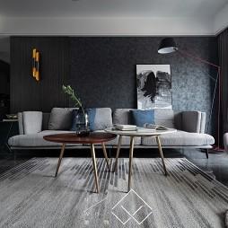 黑色系现代客厅设计实景