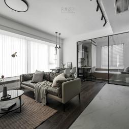 黑白现代客厅移门设计