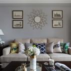 美式银灰色客厅背景画实景图