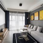现代灰色系客厅背景画实景