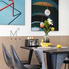 92㎡现代北欧餐厅背景画设计