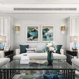 蒂芙尼+金色客厅背景画图片