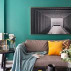 北欧墨绿色客厅图片