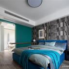 北欧卧室石纹墙布设计图