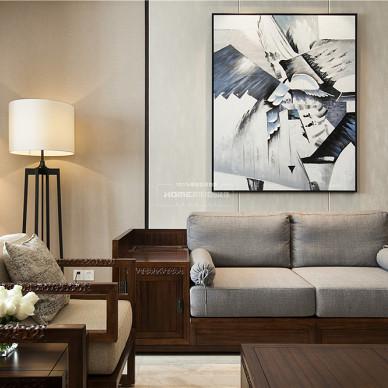 中式四居客厅装饰画图片