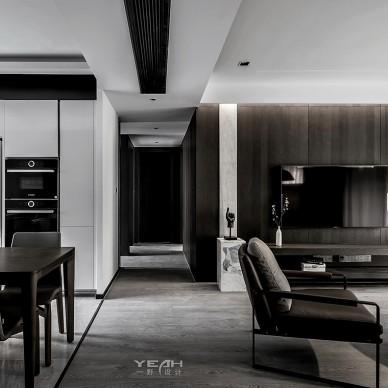 140m2|现代黑白灰客厅实景图