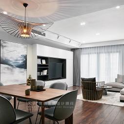現代風小復式餐廳客廳一體設計