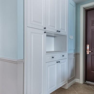 蓝色系美式玄关鞋柜设计