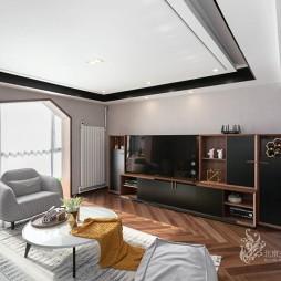 现代风格三居客厅设计实景图