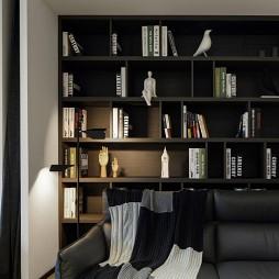浅色系简约风书房书柜设计