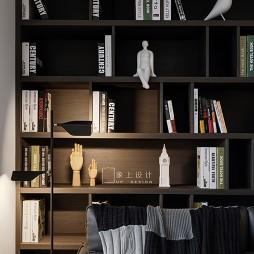 浅色系简约风书房书柜设计图