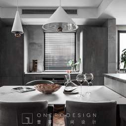 現代灰色系餐廳設計圖片