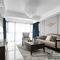 浅色系美式婚房—客厅图片