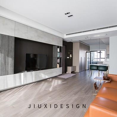 高级灰+纯黑电视墙,精致实用的两居学区房
