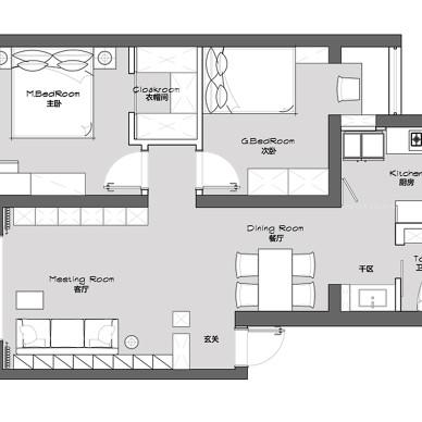 80m²平层公寓 | 当黑白灰遇上色彩_1588325266_4129710