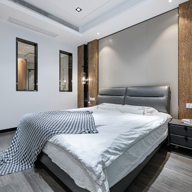 现代简约卧室墙布效果图
