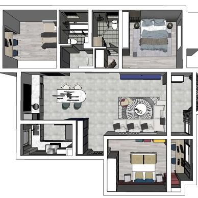 140平米三居室户型平面图