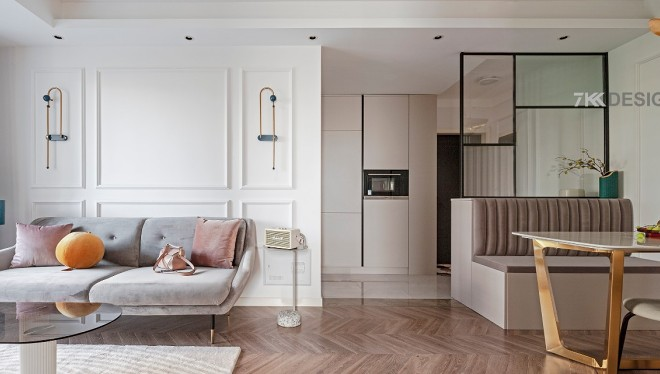 90㎡两居室打造优雅轻奢甜美浪漫北欧风