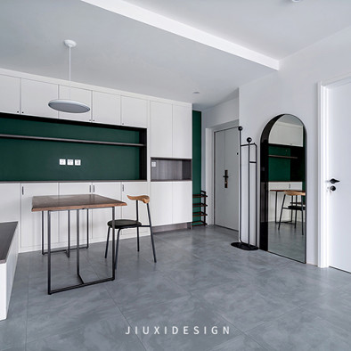 墨绿+白,轻奢气质打造复古简约美宅