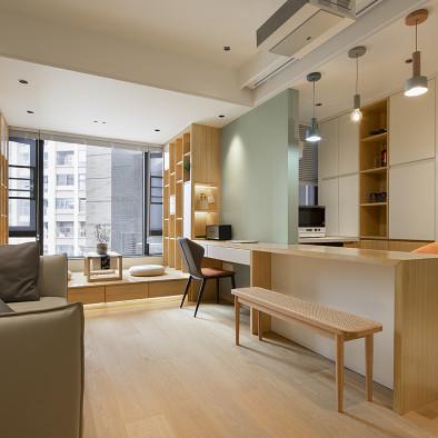 41㎡日系逆天改造,拥有大客厅+大厨房。