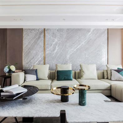 深木色+灰+墨绿点缀,打造极致轻奢美宅
